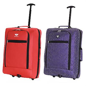 Slimbridge Montecorto Set of 2 Cabin Luggage Bags, (Set of Red and Purple Dots)