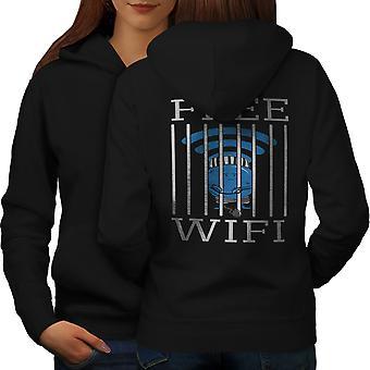 Wifi Connection Jail Women BlackHoodie Back | Wellcoda