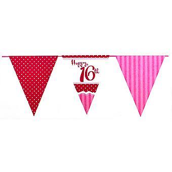 Luovaa puolue täysin vaaleanpunainen 16 syntymäpäivä lippukankaat (12 metriä)