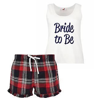 Noiva a ser senhoras Tartan babado pijama curto conjunto vermelho, azul ou verde azul