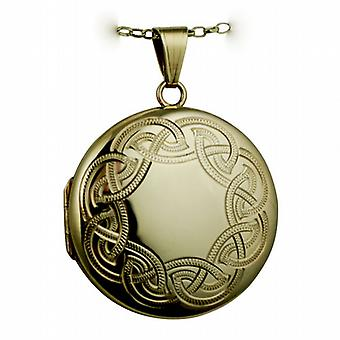9ct Gold 29mm round Celtic hand engraved Locket with a belcher Chain 24 inches
