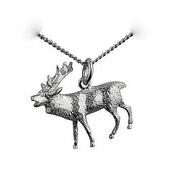 23x25mm solide Hirsch Anhänger mit einer Kandare Kette 22 Zoll Silber
