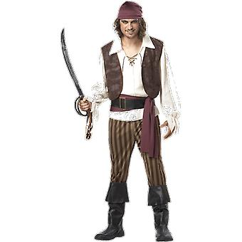 Mens High Seas Rogue Pirate Caribbean Shipwreck Fancy Dress Costume Large