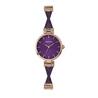Bertha Amanda ristiin rastiin nahka bändi Watch - Rose kulta/violetti