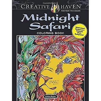 Kreativa oas midnatt Safari Coloring Book: Vilda djur mönster på dramatiska svart bakgrund
