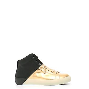 Cuir Crown Ezbc1111004 Women-apos;s Gold Leather Hi Top Sneakers