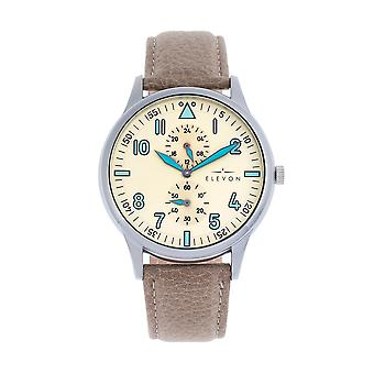 Elevon Turbine Leather-Band Watch - Silver/Tan
