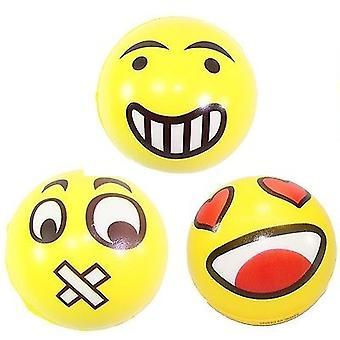 Stress baller, klem, Emoji, smiley, baller, vitser, 3-Pack