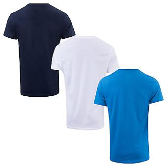 Mens Ben Sherman Theo 3 Pack T-Shirts In White Navy- Set Comes In White, Blue