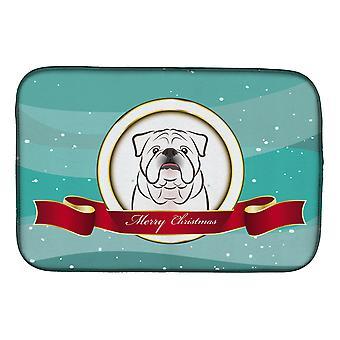 Plat de joyeux Noël blanc Bulldog anglais Mat de séchage