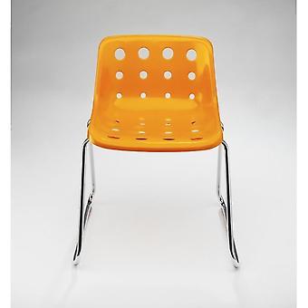 Loft Robin Day Sled Bright Orange Plastic Polo Chair