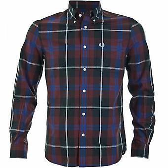 Fred Perry grande cheque manga longa camisa de - M3265-799