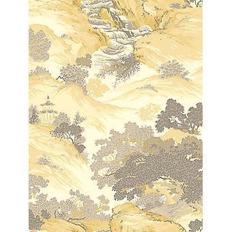 Crown Arkiv orientaliska landskap tapet gul M1192