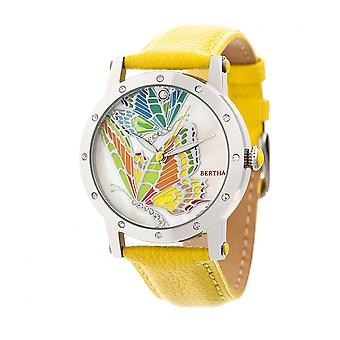 Bertha Isabella MOP Leather-Band Ladies Watch - Silver/Yellow
