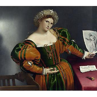 صوره للعروس الشابة والنباتات ، لورنزو لوتو ، 50x44cm