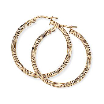 Jewelco London Ladies 9ct Yellow Gold Liquorice Candy Twist Hoop Earrings - 28mm
