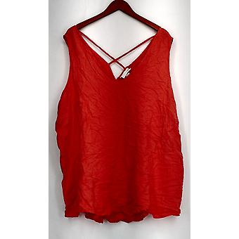 Ava & Viv Plus Top Double v-neck Tank Bright Orange New