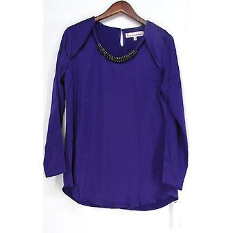G by Giuliana Rancic Embellished Neck Line Blouse Top Bright Purple