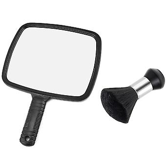 TRIXES Handheld Mirror and Neck Duster for Hairdressing Salons Barbers and Home