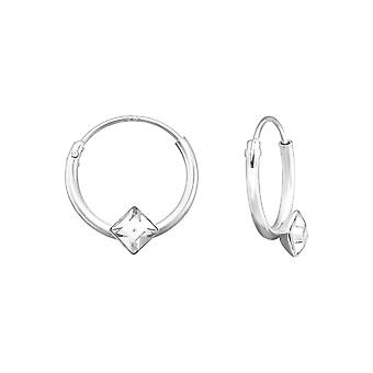 Square - 925 Sterling Silver Ear Hoops - W39072x