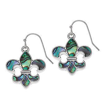 Eternal Collection Fleur De Lys Paua Shell Silver Tone Drop Pierced Earrings