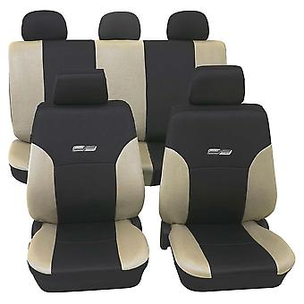 Beige & Black Leather Look Car Seat Covers For Ford Sierra 1982-1993-Washable