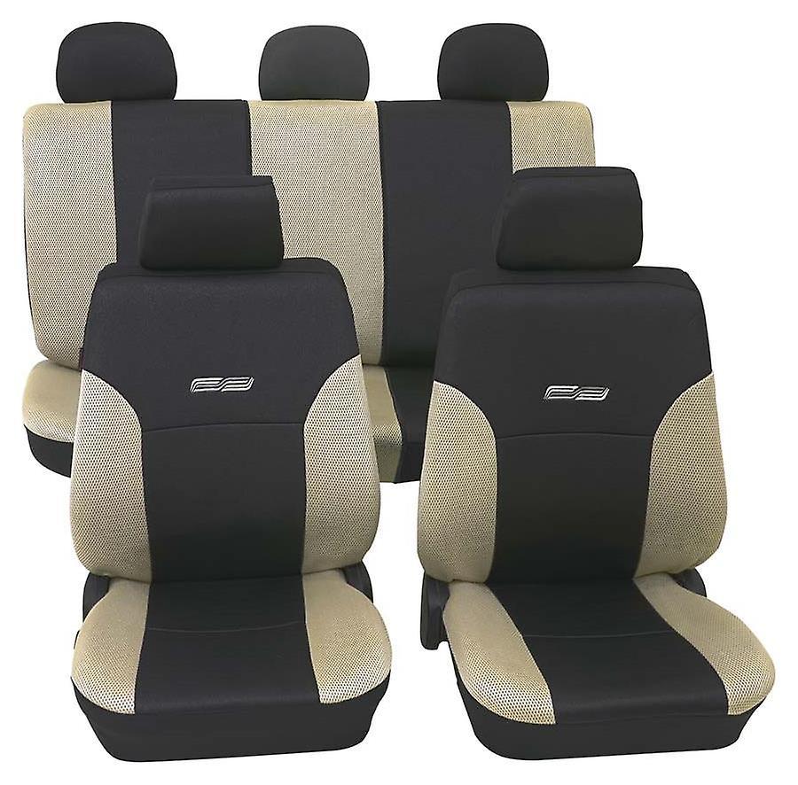 Cubiertas de asiento de coche beige y negro para Daihatsu Charade, lavable