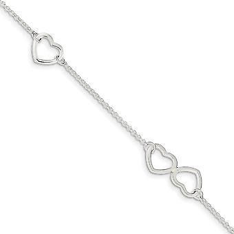 925 Sterling Silber Fancy Hummer Verschluss poliert Liebe Herz mit 1 Zoll Ext. Fußkettchen 9 Zoll Schmuck Geschenke für Frauen