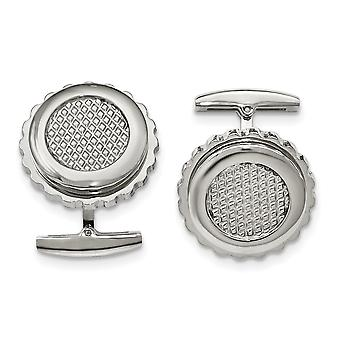 Stainless Steel Polished Textured Round Cuff Links Jewelry Gifts for Men