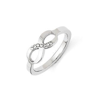 Cubic Zirconia anillo - anillo tamaño del símbolo infinito pulido acero inoxidable: 6 a 9
