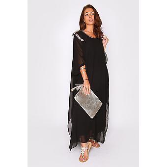 Kaftan kym übergroßen hohen Hals leicht Maxi-Kleid in schwarz