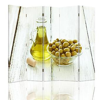 Raumteiler, 5 Tafeln, doppelseitig, Leinwand, Oliven und Olivenöl in einer Schüssel
