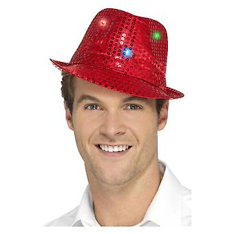 Volwassenen Red Light Up Sequin Trilby hoed Fancy Dress accessoire