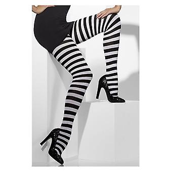 Womens Black & White Striped Opaque Tights Fancy Dress Accessory