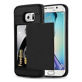 Cadorabo Case for Samsung Galaxy S6 EDGE - Case in TRESOR BLACK - Phone Case with Hidden Card Tray - Hard Case TPU Silicone Protective Case for Hybrid Cover