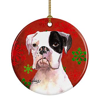Carolines Treasures  RDR3004CO1 Cooper Red Snowflakes Boxer Ceramic Ornament
