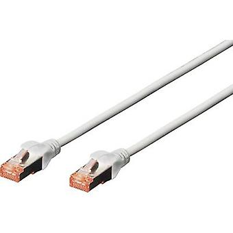 Digitus RJ45 DK-1644-100 Network cable, patch cable CAT 6 S/FTP 10.00 m Grey Halogen-free, twisted pairs, incl. detent, Flame-retardant