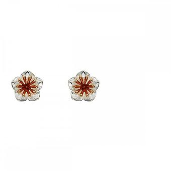 Elements Silver Silver Chrysanthemum Flower Rose Gold Details Earrings E5668