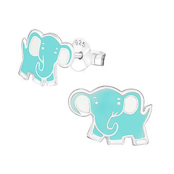 Elefant - 925 Sterling Silber farbige Ohrstecker - W14067X