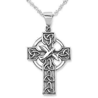 Celtic Holy Trinity Knots And Dove Iona Abbey Cross Shape Necklace Pendant - Includes A 18