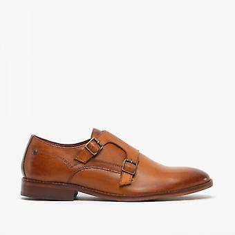 Base London Montage Mens Leather Monk Strap Shoes Washed Tan