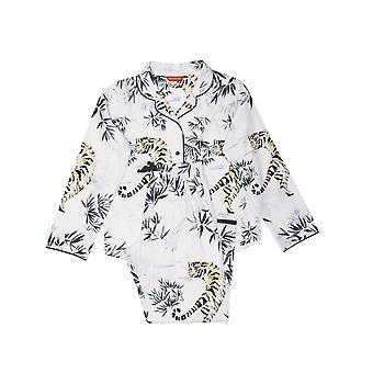 Minijammies 5525 Girl's Willow Ivory Off White Tiger Print Cotton Woven Pyjama Set