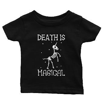 Death is Megical Unicorn Skeleton Funny Halloween Baby Gift Tee Black