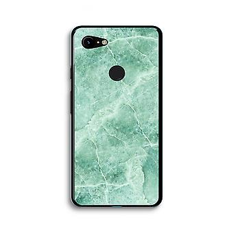 Google Pixel 3 XL Transparent Case (Soft) - Green marble