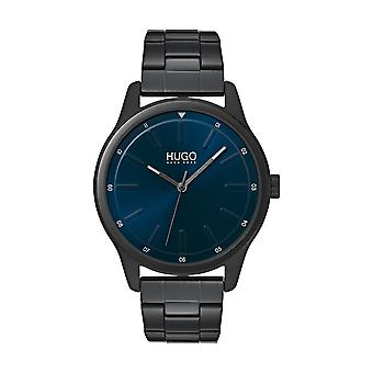 Hugo Watch 1530125 - Jump Multifunction Black Steel Case Black Black Leather Bracelet Beige Leather