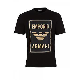 T-shirt emporio Armani Cotton Round Neck Nylon Black