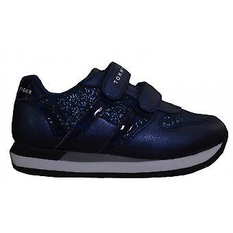 Tommy Hilfiger Girls Navy Blue Glitter Velcro Trainers
