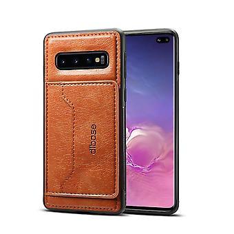 For Samsung Galaxy S10 + Plus Case, brun hest tekstur PU skinn lommebok deksel