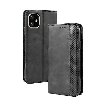 Magnet Buckle Retro Wild Horse Texture Folio Leather Case for Apple iPhone 11 Pro 5.,Holder,Card Slots,Photo Fram,Black