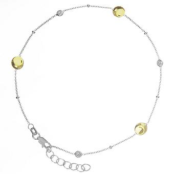 925 Sterling Silver Yellow and Rhodium Plated Anklet With Plate Beads And Cubic Zirconia 10 Inch Jewelry Gifts for Women
